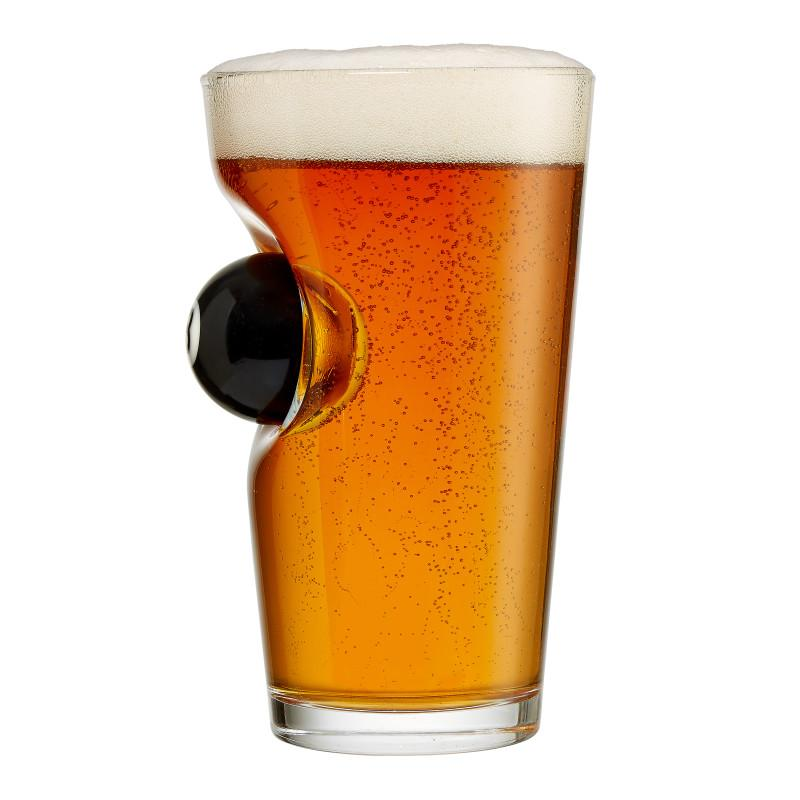 BenShot Pint Beer Glass with 8 Ball - 16oz