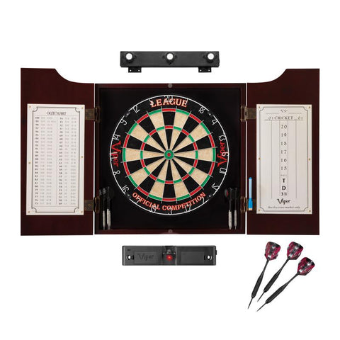 Viper League Sisal Dartboard, Hudson Mahogany Cabinet, Shadow Buster Dartboard Lights & Laser Throw Line Darts Viper