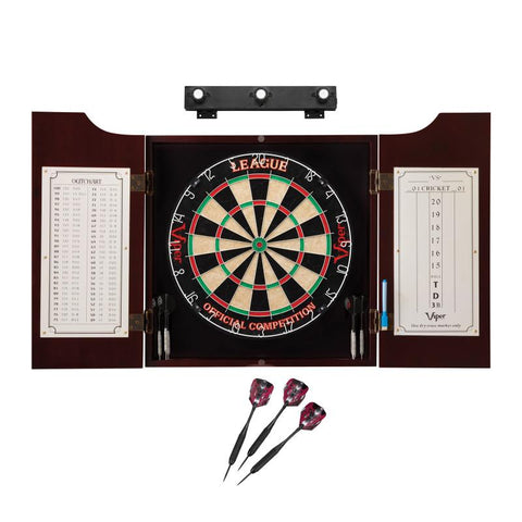 Viper League Sisal Dartboard, Hudson Cabinet, Black Mariah Steel Tip Darts & Shadow Buster Dartboard Light Bundle Darts Viper