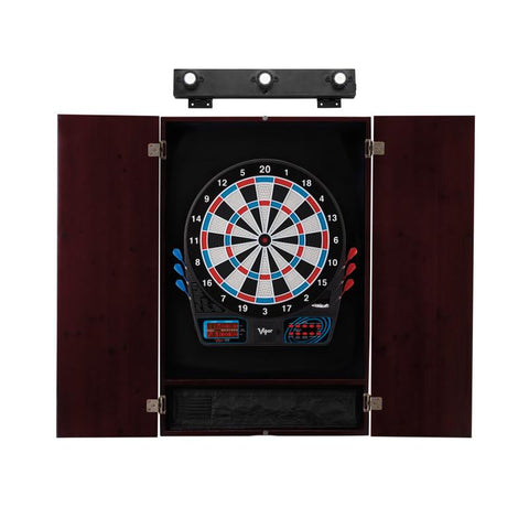 Image of Viper 777 Electronic Dartboard, Metropolitan Mahogany Cabinet & Shadow Buster Dartboard Lights