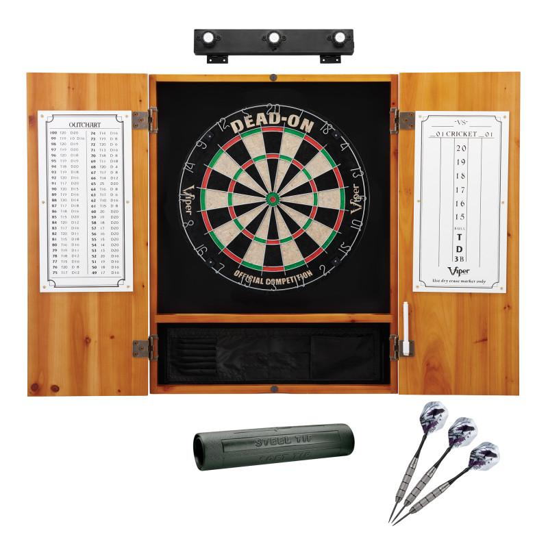 Viper Dead On Sisal Dartboard, Metropolitan Oak Cabinet, Shadow Buster Dartboard Lights & Padded Dart Mat