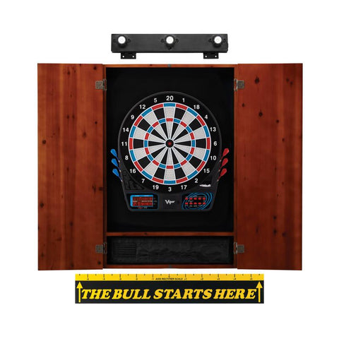 Image of Viper 777 Electronic Dartboard, Metropolitan Cinnamon Cabinet, Throw Line Marker & Shadow Buster Dartboard Light Bundle Darts Viper