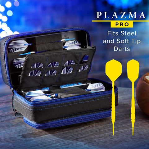 Casemaster Plazma Pro Dart Case Black with Sapphire Zipper and Phone Pocket