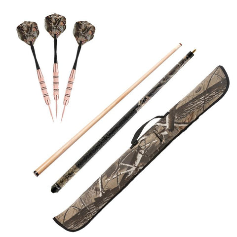 Image of Fat Cat Realtree Hardwoods HD Steel Tip Darts 23gm, Viper Realtree Hardwoods Camouflage Cue, and Viper Realtree Hardwoods HD Soft Cue Case Billiards Viper