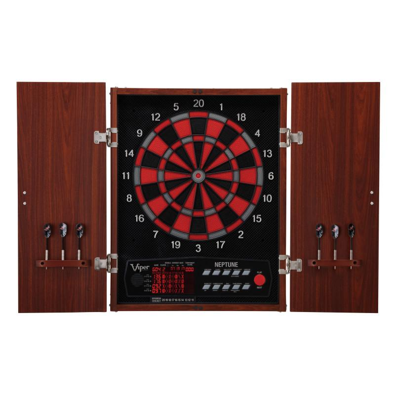 "Viper Neptune Electronic Dartboard, ""The Bull Starts Here"" Throw Line Marker, Pitbull 18g Soft Tip Darts, Dart Tip Remover Tool & Tufflex II Black Dart Tips Darts Viper"