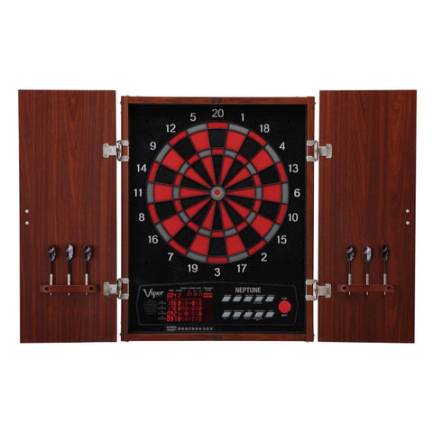 "Image of Viper Neptune Electronic Dartboard, ""The Bull Starts Here"" Throw Line Marker, Blazer 16g Soft Tip Darts, Dart Tip Remover Tool & Tufflex II Black Dart Tips"