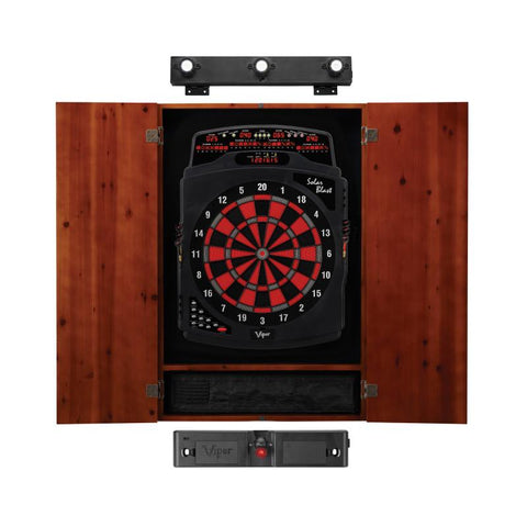 Image of Viper Solar Blast Electronic Dartboard, Metropolitan Cinnamon Cabinet, Laser Throw Line & Shadow Buster Dartboard Light Bundle Darts Viper