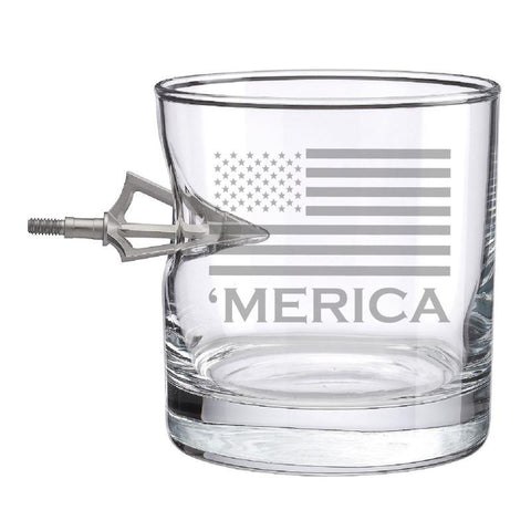 BenShot 'Merica Rocks Glass with Broadhead Arrow - 11oz Glassware BenShot