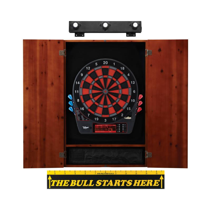 Viper Specter Electronic Dartboard, Metropolitan Cinnamon Cabinet, Throw Line Marker & Shadow Buster Dartboard Light Bundle