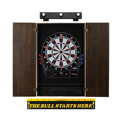 Image of Viper Vtooth 1000 Electronic Dartboard, Metropolitan Espresso Cabinet, Throw Line Marker & Shadow Buster Dartboard Light Bundle