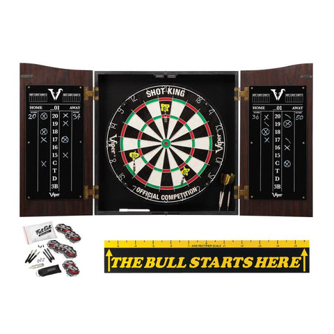 "Viper Vault Cabinet with Shot King Sisal Dartboard, Steel Tip Dart Accessories Kit & ""The Bull Starts Here"" Throw Line Marker"
