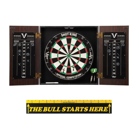 "Viper Stadium Cabinet with Shot King Sisal Dartboard & ""The Bull Starts Here"" Throw Line Marker"