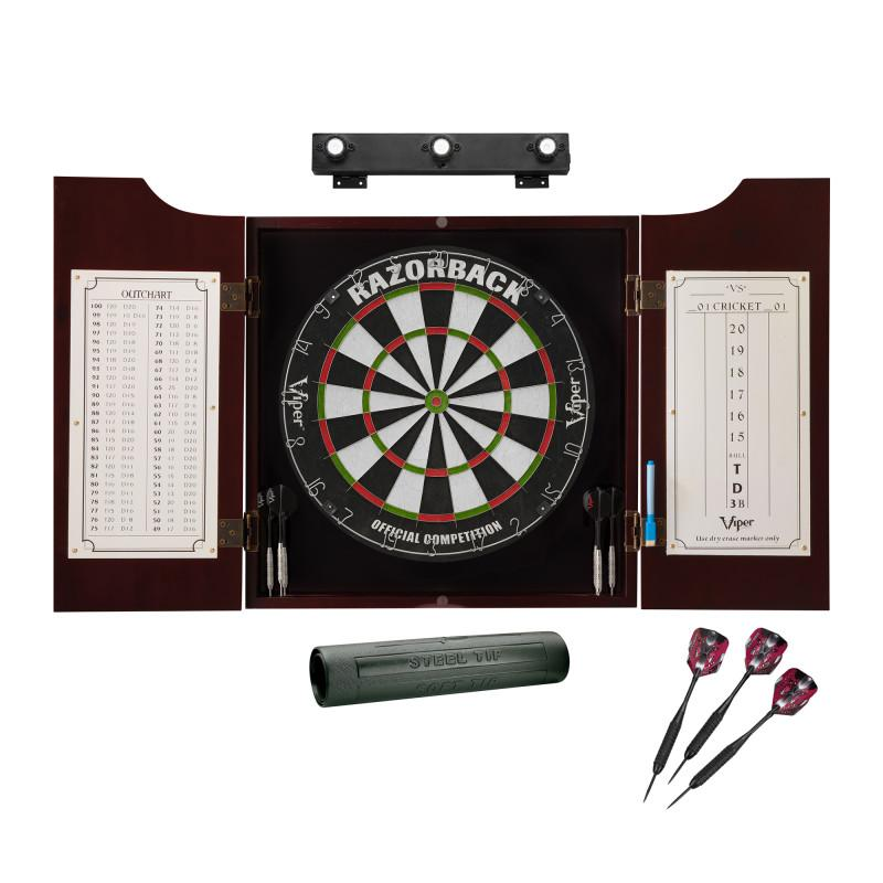 Viper Razorback Sisal Dartboard, Hudson Cabinet, Dart Mat, Black Mariah Steel Tip Darts & Shadow Buster Dartboard Light Bundle Darts Viper