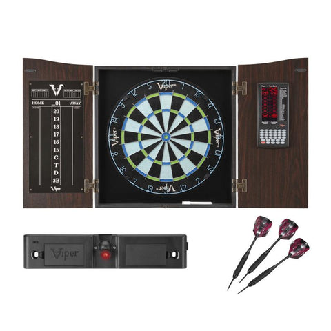 Viper Vault Deluxe Dartboard Cabinet with Integrated Pro Score with Included Chroma Sisal Dartboard, Laser Line Throwline, and Set of Black Mariah Darts