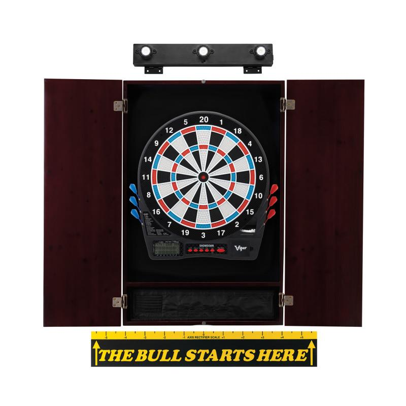 "Viper Showdown Electronic Dartboard, Metropolitan Mahogany Cabinet, ""The Bull Starts Here"" Throw Line Marker & Shadow Buster Dartboard Lights"