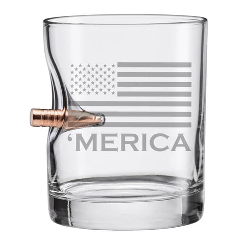 BenShot 'Merica Rocks Glass with Bullet - 11oz Glassware BenShot