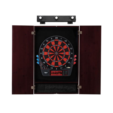 Image of Viper Specter Electronic Dartboard, Metropolitan Mahogany Cabinet & Shadow Buster Dartboard Light Bundle