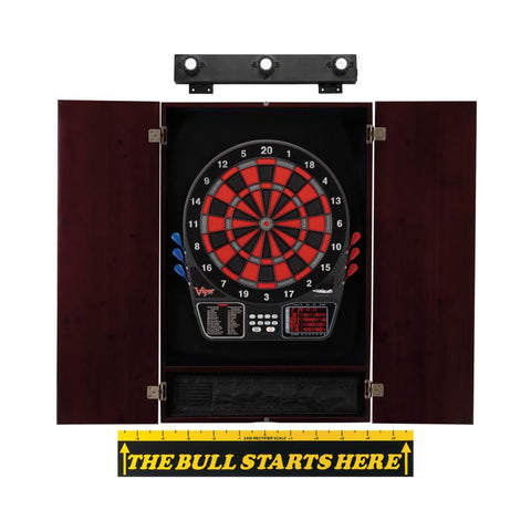 Viper 797 Electronic Dartboard, Metropolitan Mahogany Cabinet, Throw Line Marker & Shadow Buster Dartboard Light Bundle