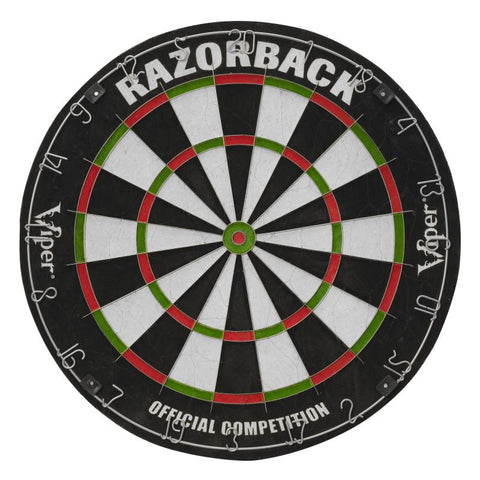Image of Viper Razorback Sisal Dartboard, Hudson Cabinet, Dart Mat, Black Mariah Steel Tip Darts & Shadow Buster Dartboard Light Bundle Darts Viper