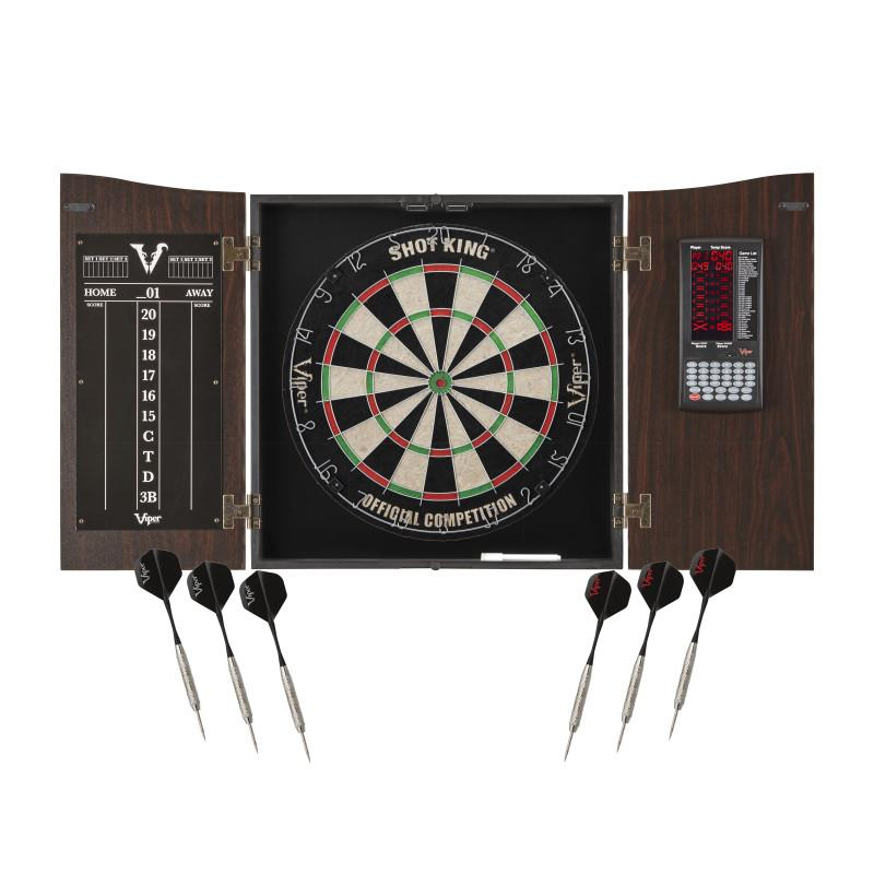 Viper Vault Cabinet Deluxe Set with Built-In Proscore and Included Shot King Dartboard