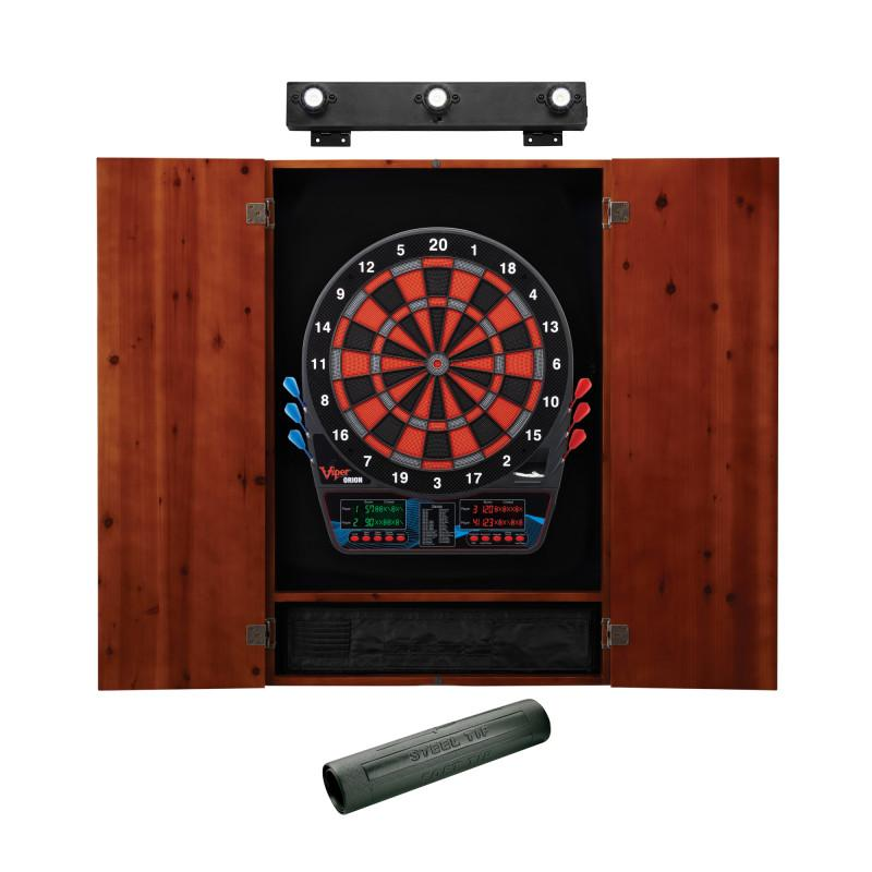 Viper Orion Electronic Dartboard, Metropolitan Cinnamon Cabinet, Dart Mat & Shadow Buster Dartboard Light Bundle Darts Viper