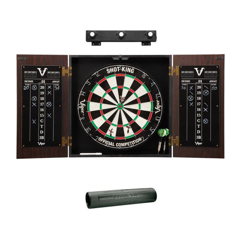 Viper Stadium Cabinet with Shot King Sisal Dartboard, Shadow Buster Dartboard Lights & Padded Dart Mat