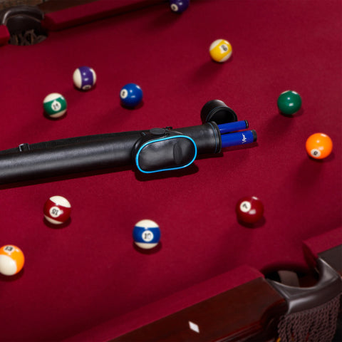 Image of Casemaster Q-Vault Supreme Black with Blue Trim Cue Case Billiard Cue Case Casemaster