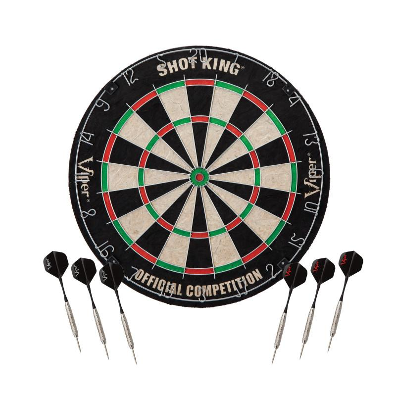 Viper Shot King Sisal Dartboard, Metropolitan Cinnamon Cabinet & Shadow Buster Dartboard Lights Darts Viper