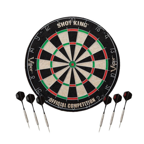 Image of Viper Shot King Sisal Dartboard, Metropolitan Espresso Cabinet, Shadow Buster Dartboard Lights & Padded Dart Mat Darts Viper