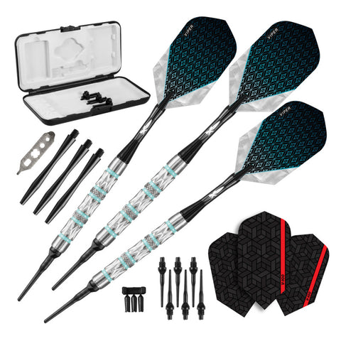 Viper Diamond Darts 90% Tungsten Soft Tip Dart Set Turquoise Rings 18 Grams Soft-Tip Darts Viper