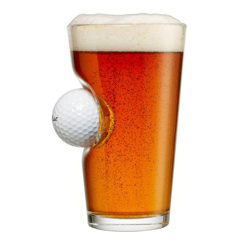 BenShot Pint Beer Glass with Golf Ball - 16oz Glassware BenShot