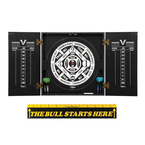 "Image of Viper Hideaway Cabinet with Coiled Paper Dartboard & ""The Bull Starts Here"" Throw Line Marker Darts Viper"
