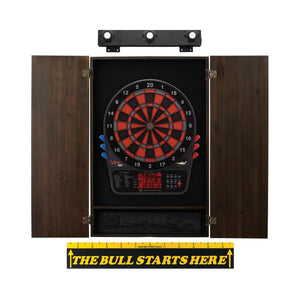 Viper 800 Electronic Dartboard, Metropolitan Espresso Cabinet, Throw Line Marker & Shadow Buster Dartboard Light Bundle