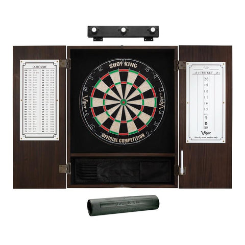 Image of Viper Shot King Sisal Dartboard, Metropolitan Espresso Cabinet, Shadow Buster Dartboard Lights & Padded Dart Mat