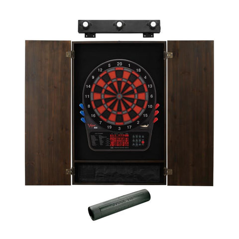 Image of Viper 800 Electronic Dartboard, Metropolitan Espresso Cabinet, Dart Mat & Shadow Buster Dartboard Light Bundle