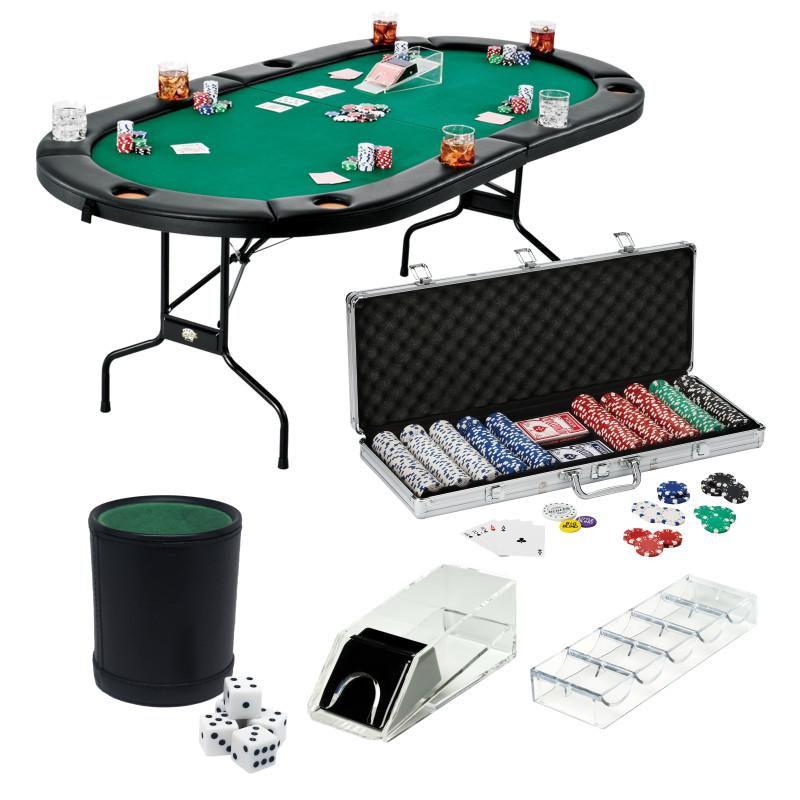 Fat Cat Texas Hold'em Table, 4-Deck Card Shoe, 500 Poker Chip Set, 2 Acrylic Chip Trays & Dice Cup Set Casino Bundles Fat Cat
