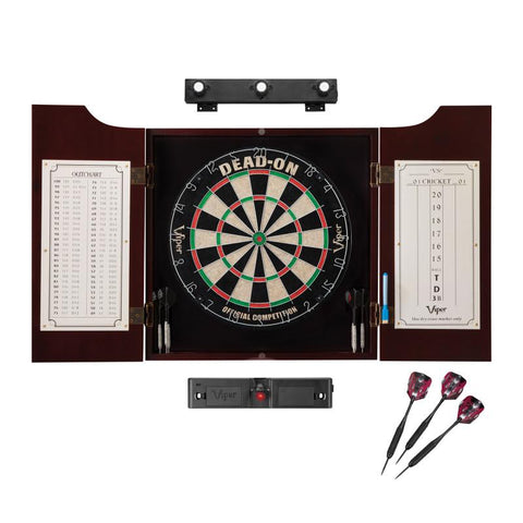 Viper Dead On Sisal Dartboard, Hudson Cabinet, Laser Throw Line, Black Mariah Steel Tip Darts & Shadow Buster Dartboard Light Bundle Darts Viper