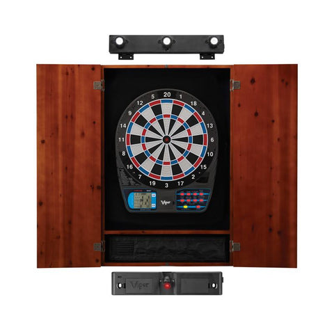 Image of Viper 787 Electronic Dartboard, Metropolitan Cinnamon Cabinet, Laser Throw Line & Shadow Buster Dartboard Light Bundle