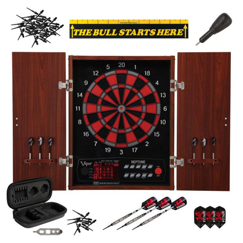 "Viper Neptune Electronic Dartboard, ""The Bull Starts Here"" Throw Line Marker, Pitbull 18g Soft Tip Darts, Dart Tip Remover Tool & Tufflex II Black Dart Tips"