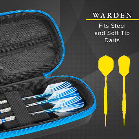 Image of Casemaster Warden Dart Case with Blue Zipper