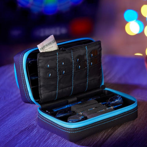 Image of Casemaster Plazma Pro Black with Blue Trim Dart Case and Phone Pocket