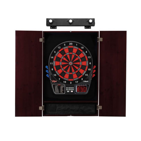 Image of Viper 797 Electronic Dartboard, Metropolitan Mahogany Cabinet & Shadow Buster Dartboard Light Bundle