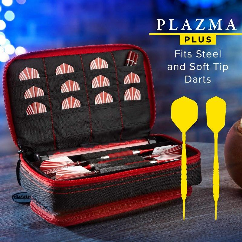 Casemaster Plazma Plus Dart Case Black with Ruby Zipper and Phone Pocket Dart Cases Casemaster