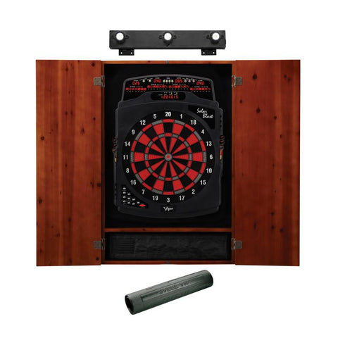 Image of Viper Solar Blast Electronic Dartboard, Metropolitan Cinnamon Cabinet, Dart Mat & Shadow Buster Dartboard Light Bundle