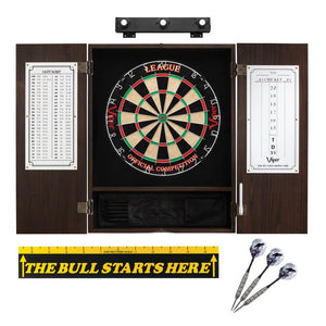 "Viper League Sisal Dartboard, Metropolitan Espresso Cabinet, Shadow Buster Dartboard Lights & ""The Bull Starts Here"" Throw Line Marker"
