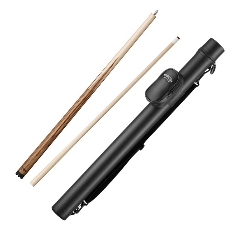 Viper Sneaky Pete Zebrawood Cue and Casemaster Q-Vault Supreme Black Cue Case Billiards Viper