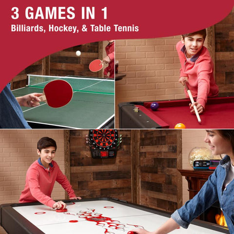 Image of Fat Cat Original 3-in-1 Burgundy 7' Pockey™ Multi-Game Table Multi-Tables Fat Cat