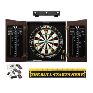 "Viper Vault Cabinet with Shot King Sisal Dartboard, Shadow Buster Dartboard Lights, Steel Tip Dart Accessories Kit & ""The Bull Starts Here"" Throw Line Marker"