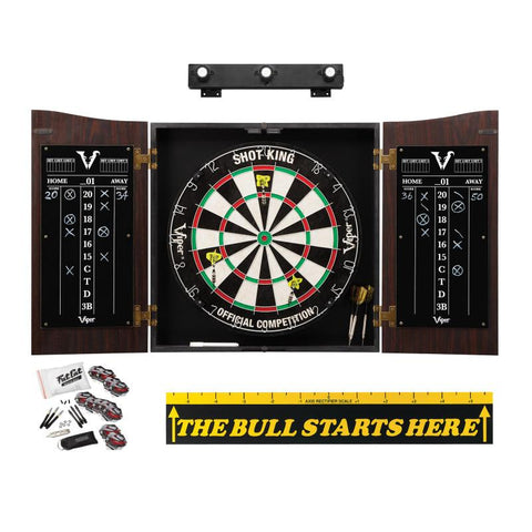 "Image of Viper Vault Cabinet with Shot King Sisal Dartboard, Shadow Buster Dartboard Lights, Steel Tip Dart Accessories Kit & ""The Bull Starts Here"" Throw Line Marker Darts Viper"