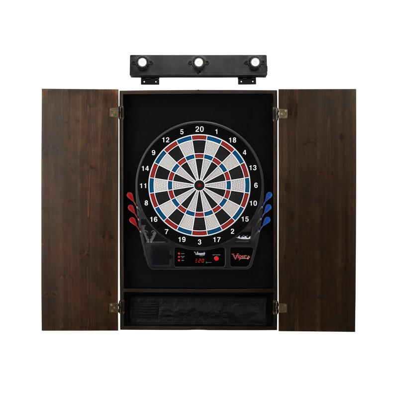 Viper Vtooth 1000 Electronic Dartboard, Metropolitan Espresso Cabinet & Shadow Buster Dartboard Light Bundle Darts Viper